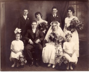 Leonard (Linky) Jensen I (1887-1979) at the wedding of Daisy Jensen (1892-1986) and Francis (Frank) Joseph Woods (1891-1972) in 1918 in Chicago, Cook County, Illinois.